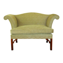 English Georgian America - Chippendale Roll Arm Sofa - A two seater Chippendale design roll arm, camel back settee on square polished legs with corner brackets.