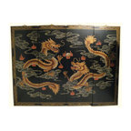 """n/a - Chinese Happy Dragon Oriental Wall Panels, 48"""" Wide X 36"""" H - Now available in two sizes these original Chinese wall plaques are hand painted in traditional Asian """"wise Dragons chasing flaming jewel"""" design. A handsome matte finish with hand painted raised gold Chinoiserie has what it takes to make a unique and classic art statement in your home. Rich told tones with hints of pastel reds, olive green and greys make this a easy fit in almost any room.This set of four wooden Oriental lacquered panels comes with brass hangars for easy hanging. We suggest a finish nail as these panels are light and made for hanging. Available in two sizes. 48"""" wide or 56"""" Wide. Use above a cabinet, couch, even as a headboard. Purchase now, supplies are limited on quality hand made imports."""