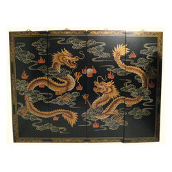 "n/a - Chinese Happy Dragon Oriental Wall Panels, 48"" Wide X 36"" H - Now available in two sizes these original Chinese wall plaques are hand painted in traditional Asian ""wise Dragons chasing flaming jewel"" design. A handsome matte finish with hand painted raised gold Chinoiserie has what it takes to make a unique and classic art statement in your home. Rich told tones with hints of pastel reds, olive green and greys make this a easy fit in almost any room.This set of four wooden Oriental lacquered panels comes with brass hangars for easy hanging. We suggest a finish nail as these panels are light and made for hanging. Available in two sizes. 48"" wide or 56"" Wide. Use above a cabinet, couch, even as a headboard. Purchase now, supplies are limited on quality hand made imports."
