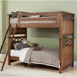 Hearthstone Twin over Twin Bunk Bed - Rustic Oak - Add a rustic touch to your children's bedroom with the Hearthstone Twin over Twin Bunk Bed - Rustic Oak. This fun bunk bed consists of an upper and lower headboard footboard side rail guard rail and ladder. Made from oak veneers and rubber wood solids this handy piece is finished in a rustic oak. An ideal piece to save space when your children share a room. We take your family's safety seriously. That's why all of our bunk beds come with a bunkie board slat pack or metal grid support system. These provide complete mattress support and secure the mattress within the bunk bed frame. Please note: Bunk beds and loft beds are only to be used by children 6 years of age or older. About Liberty FurnitureEstablished in 1993 Liberty Furniture Industries Inc. had seven employees and manufactured wood chairs and laminate table tops in a modest section of a warehouse in west Atlanta. Over the years its scope has widened to include formal and casual dining accent furniture and bedroom furniture. It now operates out of three main facilities in Atlanta one brand-new facility in Chicago and its first Asian office. As Liberty continues to grow it searches for more ways to expand and offer more of what its customers want. Liberty is now one of the premier leaders in manufacturing and delivering quality furniture at exceptional value. Through its growth it has remained a strong family-oriented business that never compromises its values of dedicated customer service a relentless pursuit of quality and a devotion to enriching lives of its employees its customers and its community.