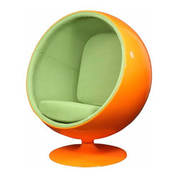 MODERN BALL SHAPED ORANGE AND GREEN LOUNGE CHAIR INSPIRED BY EERO AARNIO DESIGN - MODERN BALL SHAPED ORANGE AND GREEN LOUNGE CHAIR INSPIRED BY EERO AARNIO DESIGN