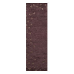 Momeni - Momeni Chelsea Ce10 Plum Rug - A striking group of Tibetan-like hand-knotted rugs with organic motifs, Chelsea is beautifully elegant in its subtleness. All designs feature delicate viscose highlights and light hand-carving for a truly unique collection.