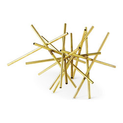 Kathy Kuo Home - Haystack Industrial Hollywood Gold Brass Tubes Sculpture - No matter how precariously this pile is perched, it is sculpted together, so it will never fall. Small brass tubes are finished in bright gold, creating a polished piece of precious metal that accents any bookshelf, end table or mantel.