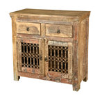 Sierra Living Concepts - Retro Rustic Reclaimed Wood Iron Grill Storage Buffet Cabinet - Rustic furniture with an antique feel and hand crafted quality is often hard to find. Our Retro Iron Grill Cabinet has the feel of classic Farmhouse Buffet and the look of Early American dining room cupboard.