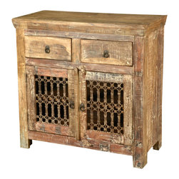 Sierra Living Concepts - Retro Rustic Reclaimed Wood Iron Grill Storage Buffet Cabinet - Rustic ...