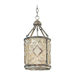 "Savoy House - Savoy House Champaign 10 1/4"" Wide Foyer Chandelier - This very Tuscan design comes in a beautiful oxidized silver finish paired with pale cream scavo glass. An added air of elegance is achieved by the overlay of intricate filigree artwork upon the glass. Perfect for rustic or Italian themes. By Savoy House. Oxidized silver finish. Pale cream scavo glass. Intricate filigree artwork. Takes one 100 watt bulb (not included). 10 1/4"" wide. 18"" high. 8"" wide canopy. Includes 10 feet of chain and 12 feet of wire. Hang weight of 25 lbs.  Oxidized silver finish.   Pale cream scavo glass.   Intricate filigree artwork.   Takes one 100 watt bulb (not included).   10 1/4"" wide.   18"" high.   8"" wide canopy.   Includes 10 feet of chain and 12 feet of wire."