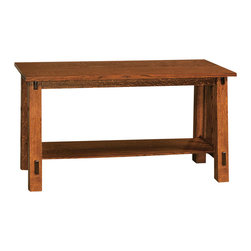 Chelsea Home Furniture - Chelsea Home Lancaster Sofa Table in Michaels Cherry - Complete your Lancaster living room set with matching solid wood tables in White Quarter Sawn Oak and Michael�s Cherry finish. The end table, coffee table and sofa table are crafted with the same precision as all of our solid wood products. Each table comes complete with a solid bottom shelf to store magazines, DVDs and other entertainment items. Chelsea Home Furniture proudly offers handcrafted American made heirloom quality furniture, custom made for you. What makes heirloom quality furniture? It�s knowing how to turn a house into a home. It�s clean lines, ingenuity and impeccable construction derived from solid woods, not veneers or printed finishes over composites or wood products _ the best nature has to offer. It�s creating memories. It�s ensuring the furniture you buy today will still be the same 100 years from now! Every piece of furniture in our collection is built by expert furniture artisans with a standard of superiority that is unmatched by mass-produced composite materials imported from Asia or produced domestically. This rare standard is evident through our use of the finest materials available, such as locally grown hardwoods of many varieties, and pine, which make our products durable and long lasting. Many pieces are signed by the craftsman that produces them, as these artisans are proud of the work they do! These American made pieces are built with mastery, using mortise-and-tenon joints that have been used by woodworkers for thousands of years. In addition, our craftsmen use tongue-in-groove construction, and screws instead of nails during assembly and dovetailing _both painstaking techniques that are hard to come by in today�s marketplace. And with a wide array of stains available, you can create an original piece of furniture that not only matches your living space, but your personality. So adorn your home with a piece of furniture that will be future history, an in