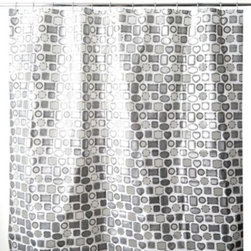 Splash Home - Framed 70-Inch x 72-Inch Shower Curtain in White - Get framed with this fun and playful shower curtain. Featuring black, white, and silver colors in an all-over pattern of different frame styles, some of which let you peek through to the other side.