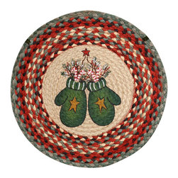 Earth Rugs - CH-252 Candy Cane Mittens Round Chair Pad 15.5in. - Candy Cane Mittens Round Chair Pad 15.5 in.