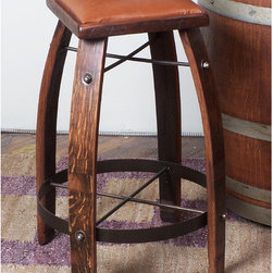 """2 Day - 24"""" Leather  Stave Stool - Features: -Leather stave stool. -Wine barrel oak, MDF and steel construction. -Made from recently retired oak wine barrel staves. -Durable wrought iron supports. Specifications: -Made in USA. -24"""" Leather stave stool Overall dimensions: 24"""" H x 20"""" W x 20"""" D. -28"""" Leather stave stool Overall dimensions: 28"""" H x 20"""" W x 20"""" D. -30"""" Leather stave stool Overall dimensions: 30"""" H x 20"""" W x 20"""" D. -32"""" Leather stave stool Overall dimensions: 32"""" H x 20"""" W x 20"""" D."""