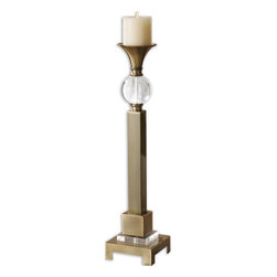 Uttermost - Uttermost 19682  Euron Coffee Bronze Candleholders, Set/2 - Coffee bronze plated metal with crystal accents. distressed ivory candles included.