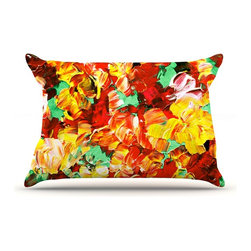 """Kess InHouse - Ebi Emporium """"Floral Fantasy II"""" Orange Yellow Pillow Case, Standard (30"""" x 20"""") - This pillowcase, is just as bunny soft as the Kess InHouse duvet. It's made of microfiber velvety fleece. This machine washable fleece pillow case is the perfect accent to any duvet. Be your Bed's Curator."""