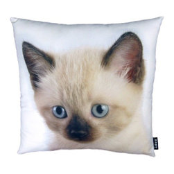 Lava - Siamese Cat 18X18 Decorative Pillow (Indoor/Outdoor) - 100% polyester cover and fill.  Suitable for use indoors or out.  Made in USA.  Spot Clean only