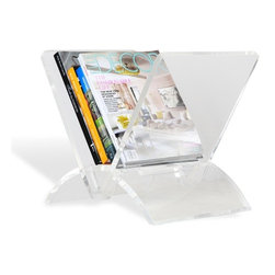 Interlude - Versa Magazine Rack - With its deco inspired shape and clear acrylic material the Versa Magazine rack is sure to bring a bit of glamour to any space.