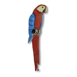 Hand Painted Red/Blue Metal Parrot Wall Hook - This beautiful metal parrot wall hook features red, blue, white, black and gray enamel paints. It measures 16inches tall, 3 1/4 inches wide and about 1 1/2 inches deep. The hook can hold up to 10 pounds. It`ll add a splash of color to any room, and makes a great gift for bird lovers. NOTE: These are hand-painted, one at a time, and there may be slight differences in color and pattern from the one pictured.