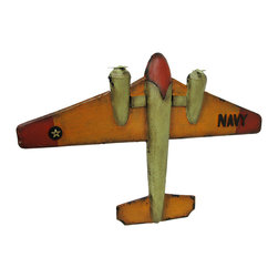 Zeckos - Vintage Navy Style Aircraft Metal Military Airplane Wall Statue - This wonderful metal statue of a vintage military Navy style airplane is constructed of a premium grade metal allow in hand-crafted styling, and diligently hand-painted in a befitting distressed finish for display on the wall anywhere in your home, or at the office It's a unique decorative piece or period collectible for pilots or aviation buffs. It measures 17 inches (43 cm) long, 25 inches (64 cm) wide, 2.5 inches (6 cm) high, and easily mounts to the wall using the attached hangers on the back. It's a great gift idea for the aircraft enthusiast in your life sure to be admired