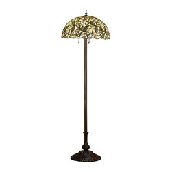 Meyda Tiffany - Meyda Tiffany Sweet Pea Tiffany Floor Lamp X-32684 - From the Sweet Pea Collection, this beautiful Meyda Tiffany floor lamp features an intricate pattern composed of light and deep green hues paired with the pale blush coloring of the pea flowers. Designed with historic influencing in mind, this stylish floor lamp also features marble accenting and a Mahogany Bronze finish.