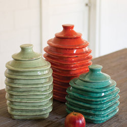 Lidded Jar in Coral - Make organization fun and colorful with this ceramic jar with matching lid. In your vintage bath or kitchen, it's perfect for storing anything from cotton balls to sugar.