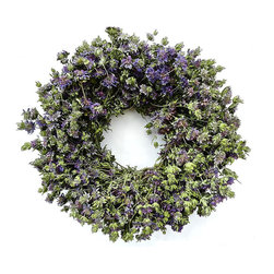 "Frontgate - Lemon Green Wreath - 22"" dia. - Grown, dried, and preserved using only natural preservatives. Imaginatively designed and hand-assembled. Will maintain its fresh-picked appearance year after year. Only display in a covered area away from outdoor elements to prevent fading. The scent may be intially strong when the box is first opened, but it will dissipate quickly and the aroma will be subtle, herbal, and gentle within a short period of time. Lemon Mint is a light and fluffy herb with a somewhat lemony fragrance that was renowned in early-American times for keeping bugs away from clothes and people. Lemon Mint has been a sign of hospitality since Greco-Roman times.  .  .  . . . Made in USA."