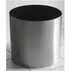 "Stainless Steel Planters 3 sizes - Stainless steel planters in 3 sizes,  13"" diameter,  15"" diameter,  and 19"" diameter.  Rugged 18 guage commercial quality construction with seamless appearance.  For indoor use.   Each planter includes a precision-fit thick vinyl drip pan to catch spills.  Note  12"" diameter planter is pictured."