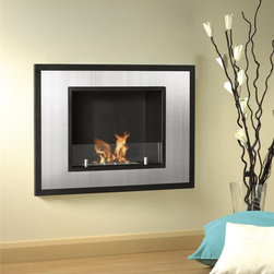 Wall Mount Ventless Ethanol Fireplace - Bellezza Mini - This sophisticated ethanol fireplace will lend itself to any décor, stainless steel and black powder coated steel make up this beautiful unit. The glass shield gives you a safety barrier and adds a touch or design.