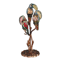 Dale Tiffany - Dale Tiffany TA60179 Three Parrots Table Lamp - Shade: Hand Rolled Art Glass