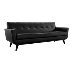 Engage Leather Sofa - Gently sloping curves and large dual cushions create a favorite lounging spot. Whether plopping down after a long day at work, settling in with coffee and brunch, or entering a spirited discussion with friends, the Engage sofa is a welcome presence in your home. Seven buttons create eye catching appeal; adding depth that brings your sitting decor to center stage. Four cherry color rubber wood legs and frame supply a solid base to the comfortable quality leather.
