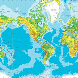 "Physical World Map Wall Mural - Mercator Projection, Peel & Stick, 1-Panel - 62"" - A physical map of the world with the America's centered. This large  world map mural is available up to 14' wide and will look great in a home, office, lobby, or school. The map is up-to-date with all the latest name changes up to 2012  and features major cities, capitals, rivers, lakes, glaciers, mountain peaks,  and latitude/longitude lines. Topography and ocean bathymetry are both  illustrated using colorful shading. Light outlines indicate country political  boundaries."