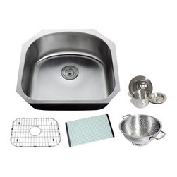 Chef - Chef Series 23 Inch Premium Undermount Single D-Bowl Kitchen Sink & ACCESSORIES - Chef Series 23 Inch Premium 16 Gauge Stainless Steel Undermount D-Bowl Kitchen Sink Value Package. Sink Comes with Matching Protective Grid Set, Glass Cutting-board, Deluxe Basket Strainer and Deluxe Salad Bowl! Full 16 Gauge Stainless Steel Construction. Satin Polished Stainless Steel Finish.