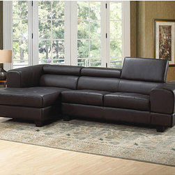 Italia Designs - Italia Designs Black Leather Sectional - This high quality leather sectional set features bold, strong arms and head rests. Made of a wood frame and the highest quality leather and high dense foam this sofa is durable as well as striking.