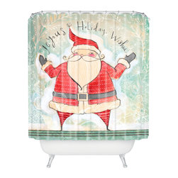 DENY Designs - DENY Designs Cori Dantini Joyous Holiday Wishes Shower Curtain - Who says bathrooms can't be fun? To get the most bang for your buck, start with an artistic, inventive shower curtain. We've got endless options that will really make your bathroom pop. Heck, your guests may start spending a little extra time in there because of it!