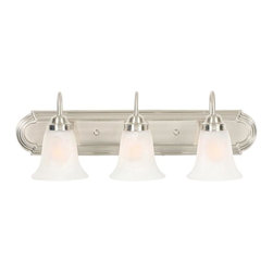 Golden Lighting - Brookfield 3-Bulb Traditional Vanity Light in Pewter Finish - Bulbs not included. Requires three 100 watt medium base incandescent type A bulbs. Electric wire gauge: 18# 3321 150 degree C. Marble glass shade. Provides well diffused light over a vanity or mirror for grooming. UL listed damp location for use in bathroom or under an eave. Three E27 sockets. Total wattage: 300. Made from metal and glass. Wire length: 8 in.. Shade: 5.5 in. Dia. x 5.25 in. H. Backplate extension: 1 in.. Backplate: 24 in. W x 4.5 in. H. Extension: 8 in.. Overall: 24 in. W x 9 in. H. Warranty. Assembly Instructions