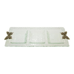 Thirsty Stone - 3 Section Glass Tray w Pewter Butterfly Accent - Hammered glass. Stylish Pewter accents. Hand wash. No assembly required. 23 in. L x 9 in. W x 1.5 in. H (3 lbs.)