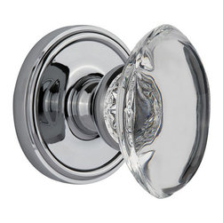 Grandeur - Grandeur Privacy-Georgetown Plate-Provence Crystal Knob-Bright Chrome - Universally chosen as an expression of tasteful elegance, the Georgetown in bright chrome captures a discrete, yet stately look. The addition of the oval Provence Knob, with its graceful arcs, will suggest a rustic, yet sophisticated charm. All Grandeur knobs are created from 24% lead crystal for unparalleled clarity and beauty, and mounted on a solid (not plated) forged brass base.