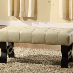 """Armen Living - Central Park 36"""" Tufted Cream Leather Ottoman - 36 inches ottoman with plenty of room for two people to sit at and enjoy.; Ottoman from the Central Park collection; Cream tufted leather; Stylish and inventive, manufactured to the highest quality standards; Comes with standard 1 year limited warranty; Dimensions: 17""""H x 36""""W x 17""""D"""