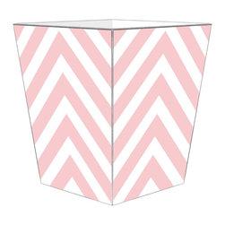 Marye-Kelley - Chevron Wastebasket, Pink - Chevron Wastebasket