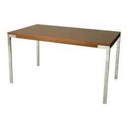 Pastel - 55 in. Wooden Dining Table - Contemporary style. Walnut veneer rectangular wood top. Chrome frame. Warranty: One year. Assembly required. 55 in. L x 31. 5 in. W x 29. 5 in. H (57. 6 lbs. ). The Fort James dining table is unique yet simple design. This beautifully made table will bring the family together.