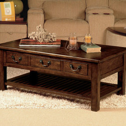 "Lane Furniture - Grand Junction Coffee Table - Features: -Hardware casters attached.-Brackets attached to shelf.-Brown oak finish.-Grand Junction collection.-Collection: Grand Junction.-Style: Transitional.-Top Finish: Cathedral Oak.-Base Finish: Cathedral Oak.-Wood Tone: Dark Wood.-Distressed: No.-Powder Coated Finish: No.-Gloss Finish: No.-Top Material: Wood.-Base Material: Wood.-Solid Wood Construction: No.-Non-Toxic: No.-UV Resistant: No.-Weather Resistant: No.-Scratch Resistant: No.-Stain Resistant: No.-Moisture Resistant: No.-Drop Leaf: No.-Lift Top: No.-Tray Top: No.-Storage Under Tabletop: No.-Folding: No.-Hand Painted: No.-Magazine Rack: No.-Built In Clock: No.-Powered: No.-Nested Stools Included: No.-Casters: Yes.-Exterior Shelves: Yes .-Cabinets Included: No.-Drawers Included: Yes -Number of Drawers: 3..-Adjustable Height: No.-Upholstered: No.-Outdoor Use: No.-Swatch Available: No.Dimensions: -Overall Height - Top to Bottom: 20"".-Overall Width - Side to Side: 46"".-Overall Depth - Front to Back: 26"".-Drawers: Yes.-Shelving: No.-Legs: Yes.-Overall Product Weight: 89.2 lbs.Assembly: -Assembly Required: Yes."