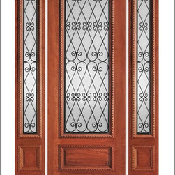 """IR Iron Insulated Entry Doors Model  # 737 - Our Iron Insulated doors are very unique.  Each door contains hand forged iron insulated between two panes of tempered glass.  this makes the unit beautiful and easy to clean.  Units can be made as single doors, double doors, or doors with side lites.  80"""" tall doors are """"Full Lite"""" and 96"""" tall doors are ¾ Lite with a rich panel at the bottom.  All doors have raised moulding standard, and a carved moulding can be added as an option."""