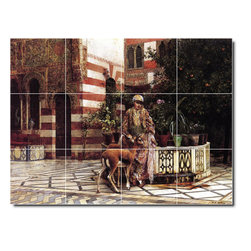 Picture-Tiles, LLC - Girl In A Moorish Courtyard Tile Mural By Edwin Weeks - * MURAL SIZE: 18x24 inch tile mural using (12) 6x6 ceramic tiles-satin finish.