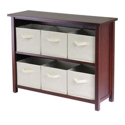 Winsomewood - Verona 2-section W Storage Shelf with 6 Foldable Beige Fabric Baskets - This storage shelf comes with 6 foldable beige fabric baskets. Warm Walnut finish storage shelf is perfect for any room in your home. Use it alone as bookcase/shelf or with baskets for a complete storage function. Assembly required for shelf.