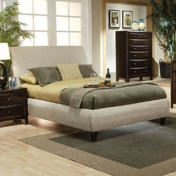 Coaster - Transitional Eastern King Size Beige Fabric Bed - Fabric wrapped in a neutral light beige color. Bed requires mattress foundation. Case pieces are finished in rich deep cappuccino. All drawers have bevelled wood fronts, accented with brushed nickel hardware.