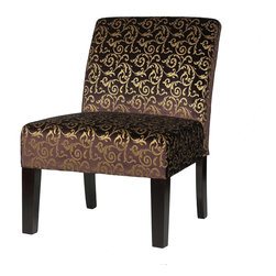 Cortesi Home - Castano Armless Accent Chair - The armless Castano accent chair will add elegance and character to any of your rooms with its ornate gold leaf pattern. Upholstered in a velvet fabric that changes colors depending on the light. Legs are in a cappuccino finish. The Castano chair is excellent quality with a solid wooden frame, spring support construction, and a plush quality fabric.