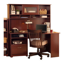 "Bush - Bush Cabot 60"" Corner Computer Desk with Hutch in Harvest Cherry - Bush - Computer Desks - WC3141503PKG2"