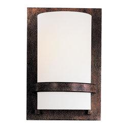 Minka Lavery - Minka Lavery 342-357-PL Iron Oxide 1 Light Wall Sconce - Etched Opal Glass Shade