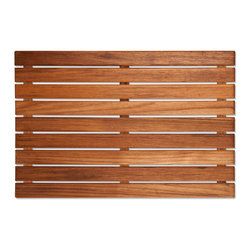 "Teakworks4u - Teak  Mat, 20"" X 14"" - Naturally mold and mildew proof due to its high oil content, this bath mat will serve you in style for years to come. The inherent beauty of teak is sure to complement your bathroom accessories and create a perfect decorative accent. Naturally high silica content makes this piece incredibly slip resistant. Crafted with quality wood, countersunk screws and rubber footing to protect your floors, this teak mat is nothing short of an investment. Proudly made in the U.S.A."