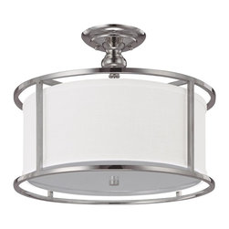 Capital Lighting - Capital Lighting Midtown Transitional Semi Flush Mount Ceiling Light X-954-NP419 - This Midtown transitional semi-flush mount ceiling light by Capital Lighting is simple, sleek and stylish. Designed with hardware in a polished nickel finish that frames a fabric shade, it's best suited for a modern/contemporary home that needs a touch of something fresh and uncomplicated. This piece makes decorating effortless.