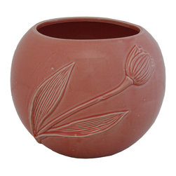 Selectives - 7.5-Inch High Tulip Blush Planter - Very smart and durable, this ceramic planter with a tulip accent is a perfect choice for a chic dainty look.  You can display this piece either  indoors or outdoors.