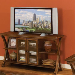 Standard Furniture - Standard Furniture Barcelona 54 Inch Console TV Table in Cherry - Barcelona serves a rare balance of traditional form and contemporary function. Quality veneers over wood products and select solids used throughout. Cherry color finish. Surfaces clean easily with a soft cloth.