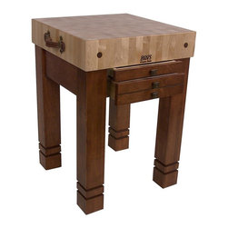 John Boos - 2-Drawer Table Block (Useful Gray) - Color: Useful GrayIncludes 2 drawers for storage with brass square knobs and 2 vintage leather steamer trunk handles. 5 in. Thick end grain hard maple top. Pictured in Cherry. 5 in. L x 24 in. W x 24 in. H (182 lbs.)